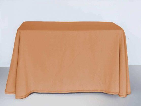 Falda mesa camilla rectangular online de terciopelo color caramelo