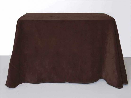 Falda mesa camilla rectangular online de terciopelo color marron, telas para enaguas