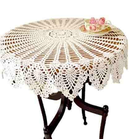 tapete crochet de encaje de agodon artesano tapete artesanal de color blanco