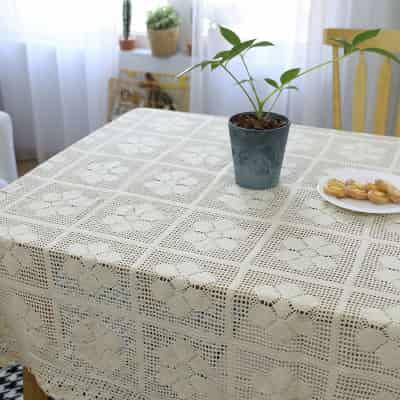 imagenes detalladas de tapete mantel de ganchillo rectangular