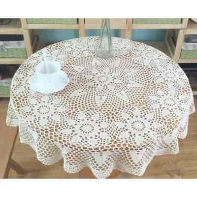 tapete de croche redondo, mantel de ganchillo redondo artesano color blanco, croche redondo para mesa
