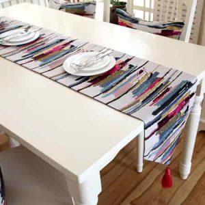 comino de mesa a rayas de colores vivos originales