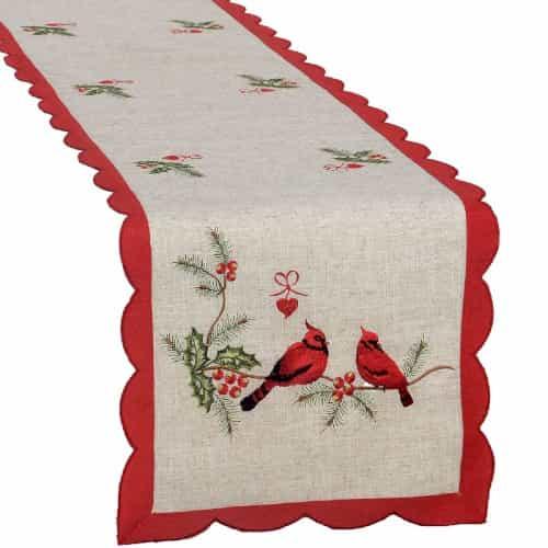 camino de mesa de amor bordado con pajaritos pajaros de amor