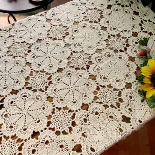 tapete de ganchillo clásico para decoracion moderna de mesa camilla