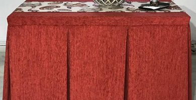falda para mesa rectangular con fuelles,