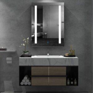 Armarios de baño con espejo y luz para colgar de la pared.