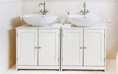 Muebles bajo lavabo sin lavabo que embellecen el baño.