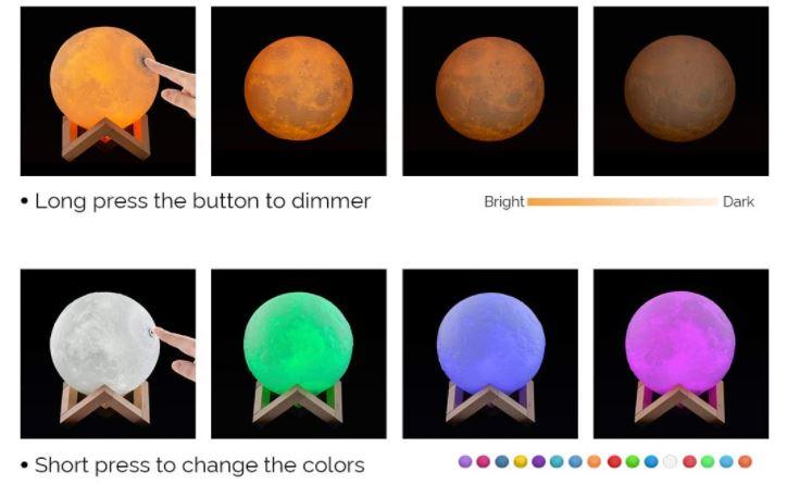 Lámpara de noche con forma de luna con luces de colores ideal para ornamentar el dormitorio del bebé.