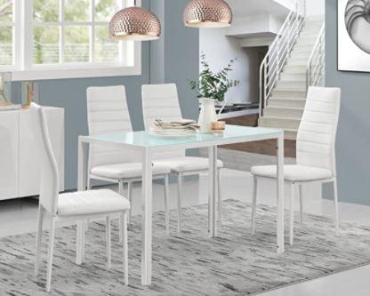 mesa de comedor blanca de cristal lacado banco