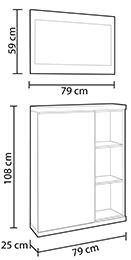 Croquis de ilustración con las medidas y el diseño del mueble zapatero para el recibidor.