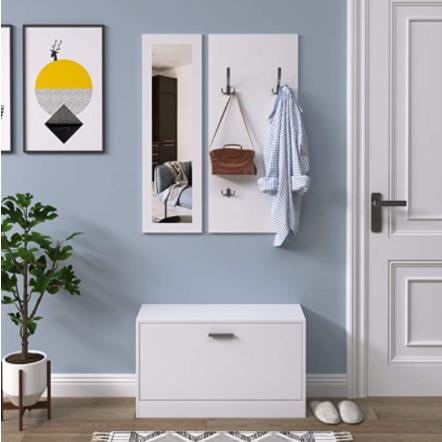 La entrada de un salón recibidor con un mueble zapatero recibidor con espejo y perchero de color blanco. Una planta y un cuadro decoran la habitación.
