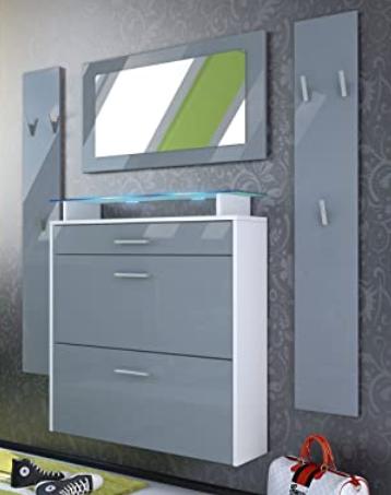 Conjunto de mueble de recibidor suspendido colgado en la pared del pasillo con un zapatero suspendido, cajones, espejo y percheros.