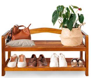 Un mueble zapatero precioso y barato de madera de acacia barnizada y de estilo colonial.