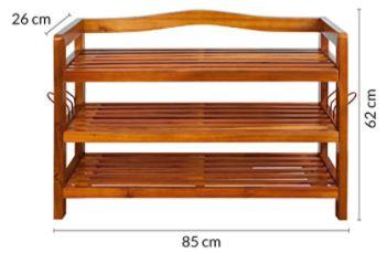 Mueble de madera maciza natural con 3 estanterías para organizar los zapatos.